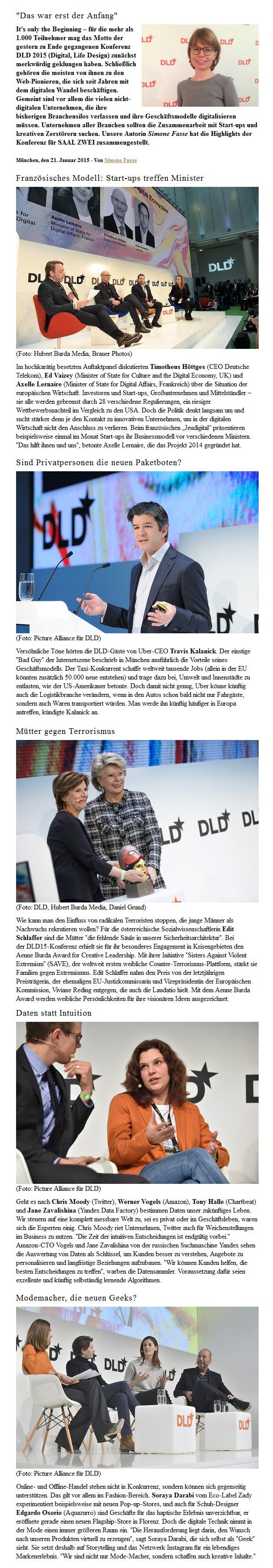 Verbia Arbeitsprobe - Best of DLD Conference - Saal Zwei